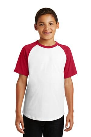 sport-tek youth short sleeve colorblock raglan jersey yt201