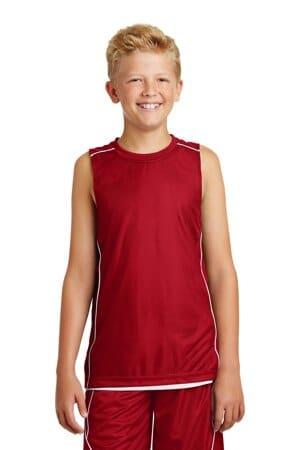 sport-tek youth posicharge mesh reversible sleeveless tee yt555