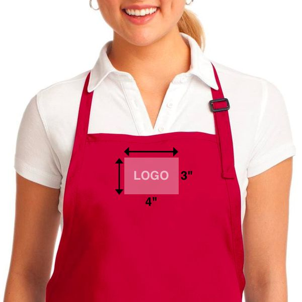embroidered logo size on aprons