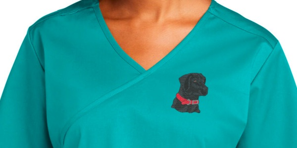 embroidered blue scrub with veterinary logo