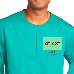 embroidery dimensions on left chest