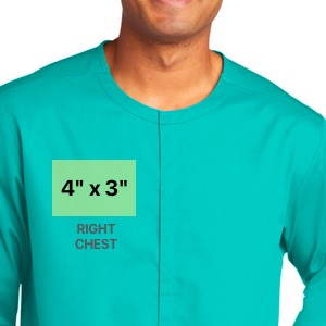 embroidery dimensions on right chest