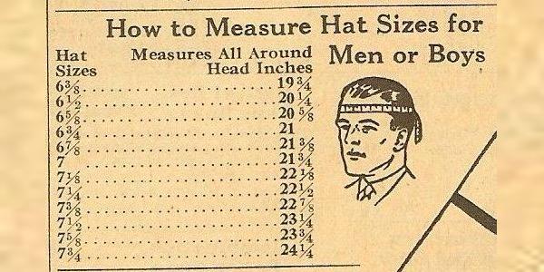 vintage hat size chart